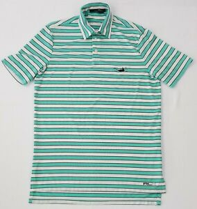 RLX-Ralph-Lauren-Men-039-s-Small-Green-White-Striped-Short-Sleeve-Golf-Polo-Shirt
