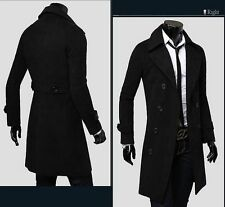 New Winter  Mens Slim Stylish Trench Coat Double Breasted Long Jacket 10107