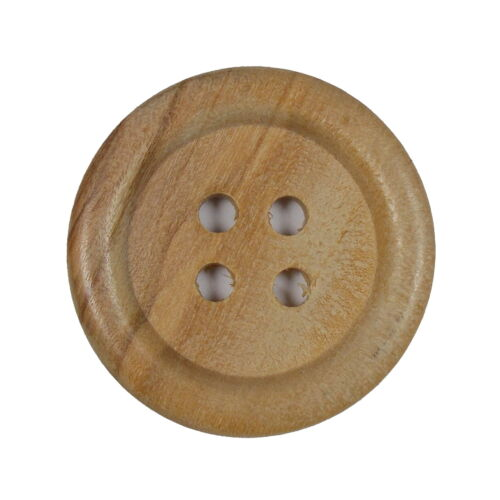 Large Round Wooden 4 Hole Feature Buttons Size Choice