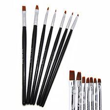 7pcs Black UV Gel Nail Art Design Painting Sable Brush Pen Tool Set NB0005