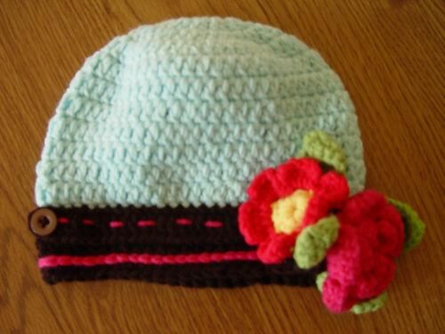 HANDMADE CROCHET KNIT HATS FOR BABIES /& KIDS-BLUE//BROWN CAP W// FLOWERS-0-5 YRS