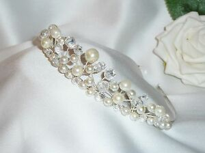 Handmade-Bridal-Prom-Clear-AB-Crystals-with-Ivory-Pearls-Silver-Tiara-headband