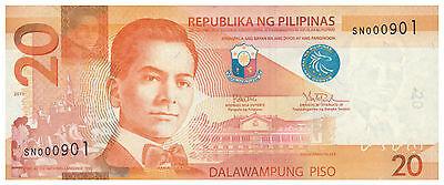 New Generation Rodrigo Duterte Low No 2016  PHILIPPINES 20 Peso NGC Note