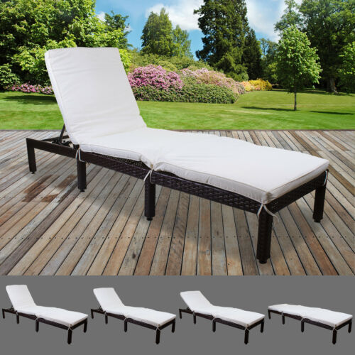CREAM RATTAN SUN LOUNGER OUTDOOR GARDEN PATIO FURNITURE RECLINER RELAXER DAY BED