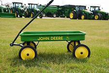 """`01 Ertl JOHN DEERE 36"""" Green Steel PULL ALONG WAGON Kids 2 Legged Deer Farm Toy"""