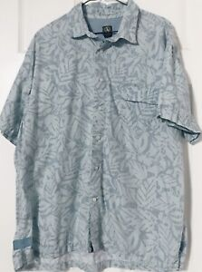 Aigle Herren Kleid Knopfleiste Hawaii Schiffsreise Cabana Shirt SZ XXL Blau