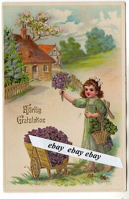 Used 1917 Beautiful Antique Greetings Postcard Girl W Flowers Sweden Swedish Ebay