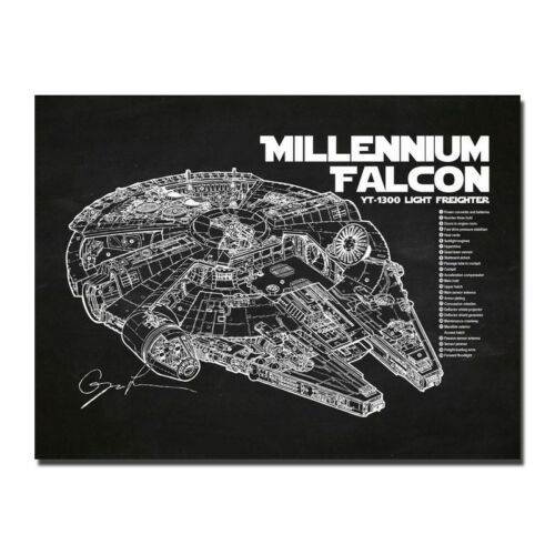 Star Wars Millennium Falcon Blueprint Movie Silk Fabric Poster Canvas Print