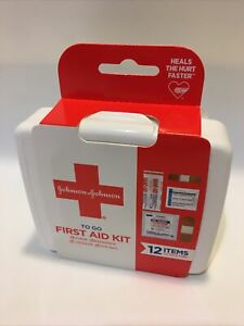 JOHNSON & JOHNSON First Aid To Go Kit 12 Essential Items Travel NEW Fast Ship