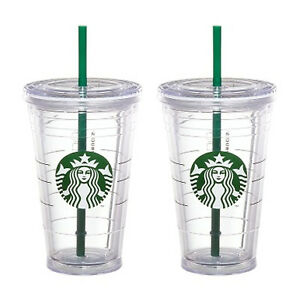 2x Starbucks Reusable Cold Cup Grande Coffee Clear Siren