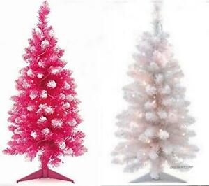 3 Ft Pink Or White Prelit Artificial Christmas Flock Tree