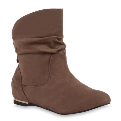 Wildleder optik Schuhe Schlupfstiefel Stiefeletten Top Boots Damen Slouch 75281 cPSOpfUq