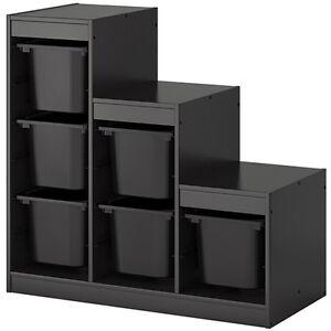 ikea trofast aufbewahrung mit boxen f r spielzeug ordnung regal rahmen schwarz ebay. Black Bedroom Furniture Sets. Home Design Ideas