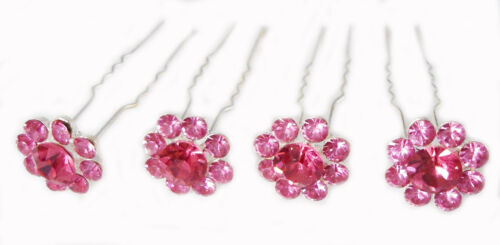 4 Hair Bridal Accessory Crystal Hairdressing Pin Wedding Prom Clip Diamante Pink