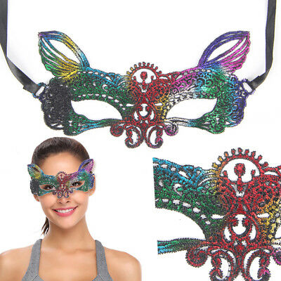Rainbow Lace Cat Mask Lolita Costume Victorian Fancy Masquerade Ball Halloween
