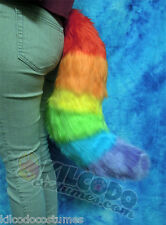 Rainbow Fox Fake Faux Fur Costume Tail - Wolf Puppy Furry Fursuit Cosplay