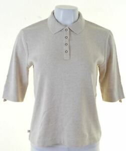RALPH-LAUREN-Womens-Polo-Shirt-3-4-Sleeve-Size-14-Medium-Beige-Cotton-ED06