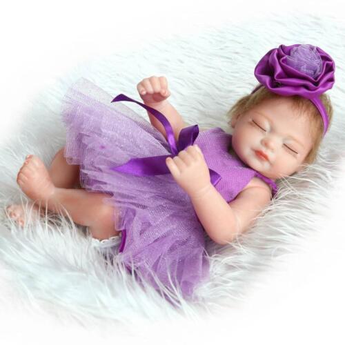 "Toy Baby Full Silicone Vinyl Reborn Preemie Doll Real Look Purple Dress Girl 11/"""