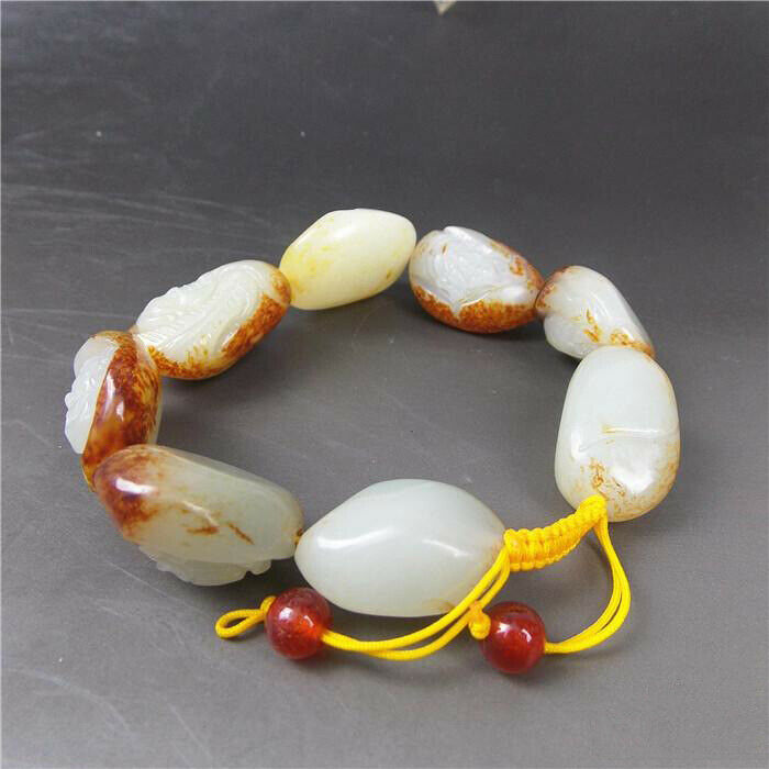 Certified 100% Natural White Hetian A Jade 23mm Bead Bracelet - Eight Immortals