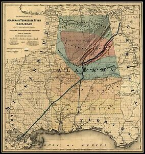 1848 MAP Alabama, Tennessee River Rail Road, antique Print, AMERICA ...
