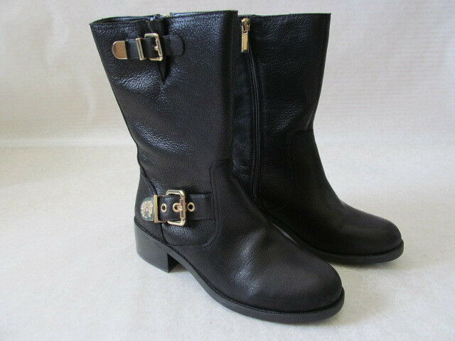 VINCE CAMUTO WEXLE LEAD BLACK LEATHER BUCKLE MOTO BOOTS SIZE 6 1 2 M - NEW