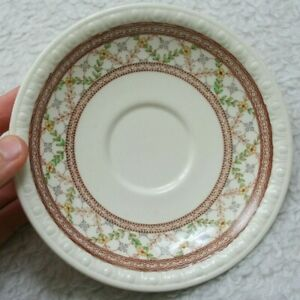 Copeland-Spode-England-Cynthia-Saucer-United-States-Design-White-Brown-Floral