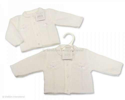 Baby Girl Spanish style cardigan knitted White ribbon bows Newborn 24 months