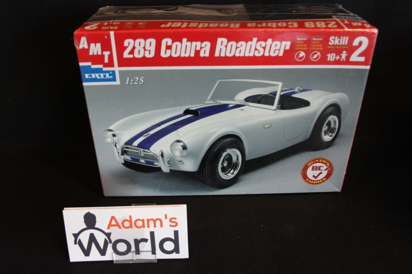 AMT kit Shelby Cobra Roadster 289 1 25 white with bluee stripes (MG1)
