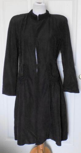 Vintage 40s Black Rayon Faille Coat Braided Trim P