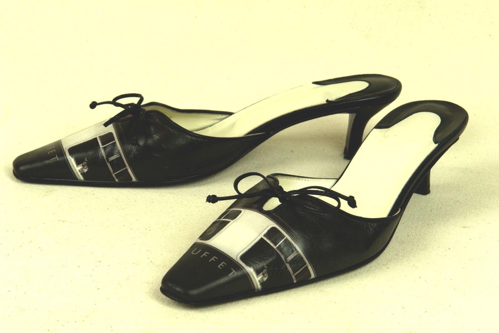 ICON   ITALY   EXQUISITE MULE IN schwarz & Weiß   7 M   EXCELLENT