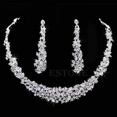 Elegant Wedding Bridal Rhinestone Crystal Necklace Earring Plated Jewelry Sets