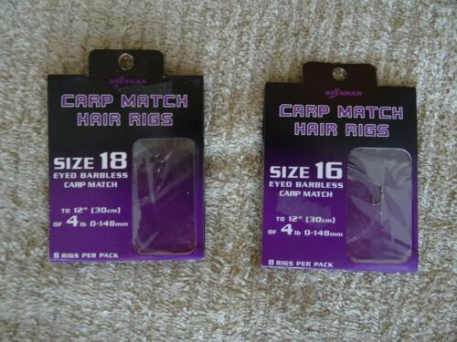 DRENNAN CARP MATCH HAIR RIGS Size 16 FREE DELIVERY £3.00