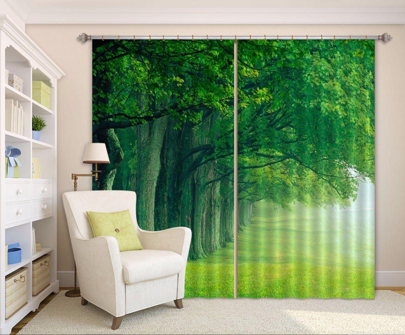 3D árboles de césped 8 Cortinas de impresión de Cortina Blockout Foto Tela Cortinas Ventana Reino Unido