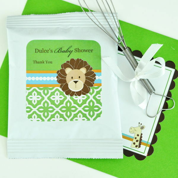 72 Personalized Jungle Safari Theme Hot Cocoa Mix Pouches Baby Shower Favors