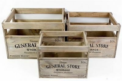Vintage Chic Wooden Storage Crate Vegetable Fruit Box Country Kitchen