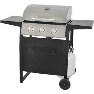 Gas-Grill-BBQ-Propane-3-Burner-Stainless-Steel-Backyard-Outdoor-Cooking-Compact