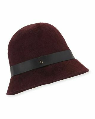 Ladies 100/% Wool Cloche Hat with Dotty Band and Glossy Belt Handmade in Italy