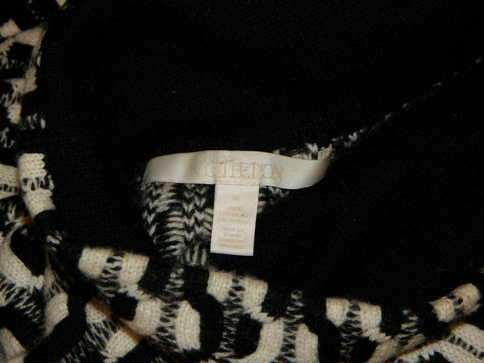 100% Cashmere NORDSTROM COLLECTION Black White Do… - image 11