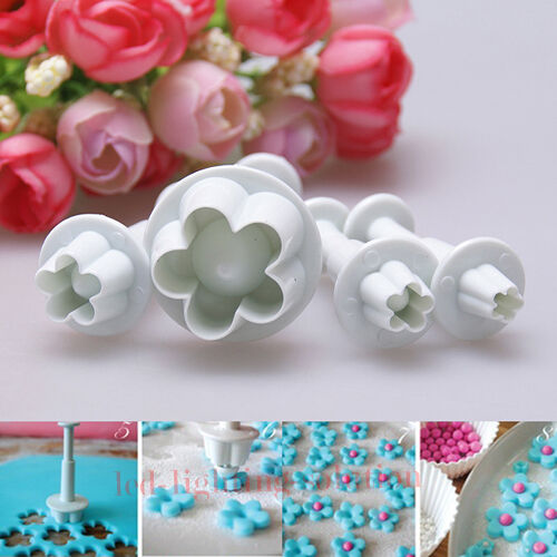 4Pcs Plum Blossom Flower Fondant Cut Cake Decorating Tool Plunger Cutter Mold #T