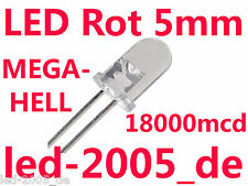100 x LED Rot 5mm,18000mcd,20mA,625nm,LED 5mm Red,Rouges,Rossi,Rode,Rojos,Rot,