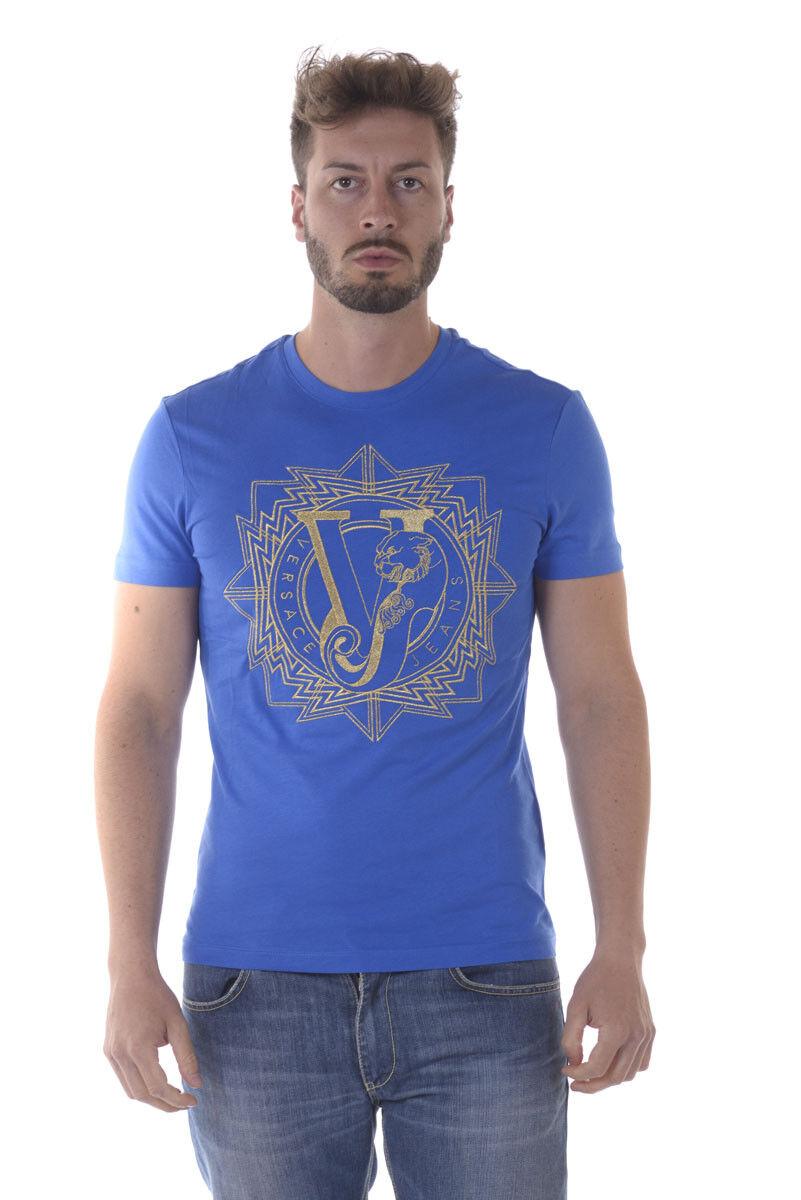 T Sweatshirt shirt Maglietta Versace Jeans Sweatshirt T REGULAR Cotone Uomo Blu B3GOA726 243 dcc266