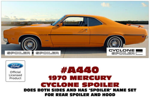 A440 1970 MERCURY CYCLONE SPOILER HOOD TRUNK SPOILER DECAL KIT SIDE STRIPES