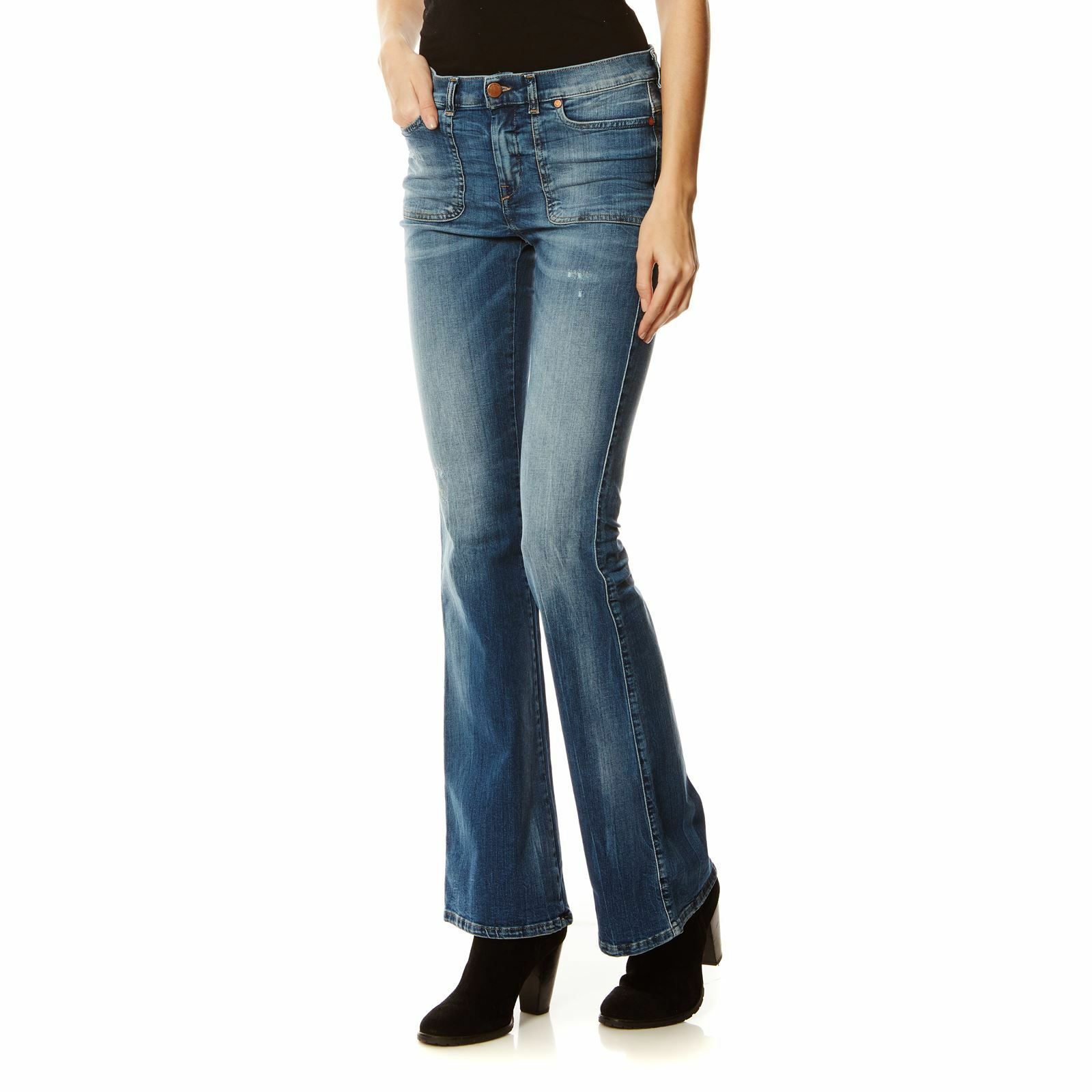 285 Authentic DIESEL Women's Distressed Faded Bootcut Fit Sandyb-Patch Jeans