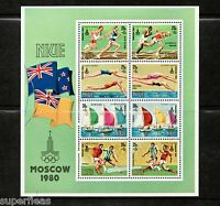 1980 Niue - Moscow Olympic souvenir sheet equestrian football swimming track MNH