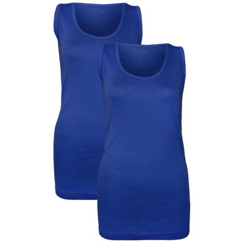 PACK OF 2 NEW LADIES WOMEN PLAIN SUMMER STRETCHY RIBBED CASUAL TOP T SHIRT  VEST
