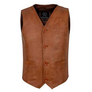 Mens Tan Brown Soft Leather Waistcoat Party Fashion Designer Sheepskinhs Hd Ebay