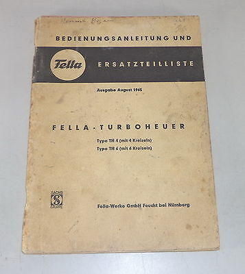 Parts Catalog Fella Turboheuer Type H4/h6 Stand 08/1965 Clearance Price Farming & Agriculture Operating Instructions Motors