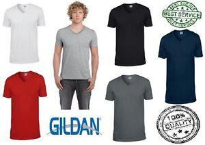 New-Men-039-s-Gildan-Ringspun-Soft-Style-V-Neck-Soft-Touch-T-Shirt