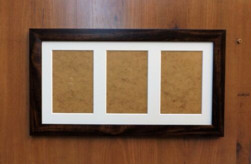 """for 7x5/"""" or 6x4/"""" prints Triple Aperture Mount Picture Frame Dark Walnut finish"""