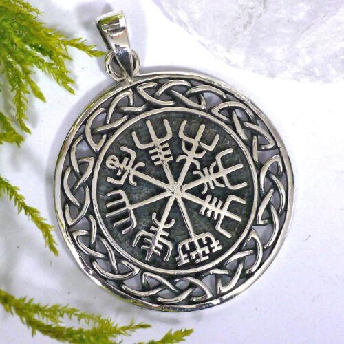 NEU magischer Vegvisir Wikinger Kompass 925 Silber Runenkreis Runen Kompaß